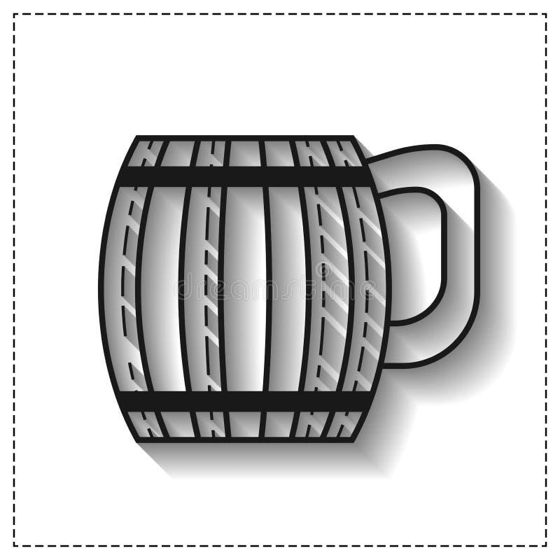 Houten mok voor bier, water en dranken Vlak pictogram voor plaats, zaken Vector illustratie vector illustratie