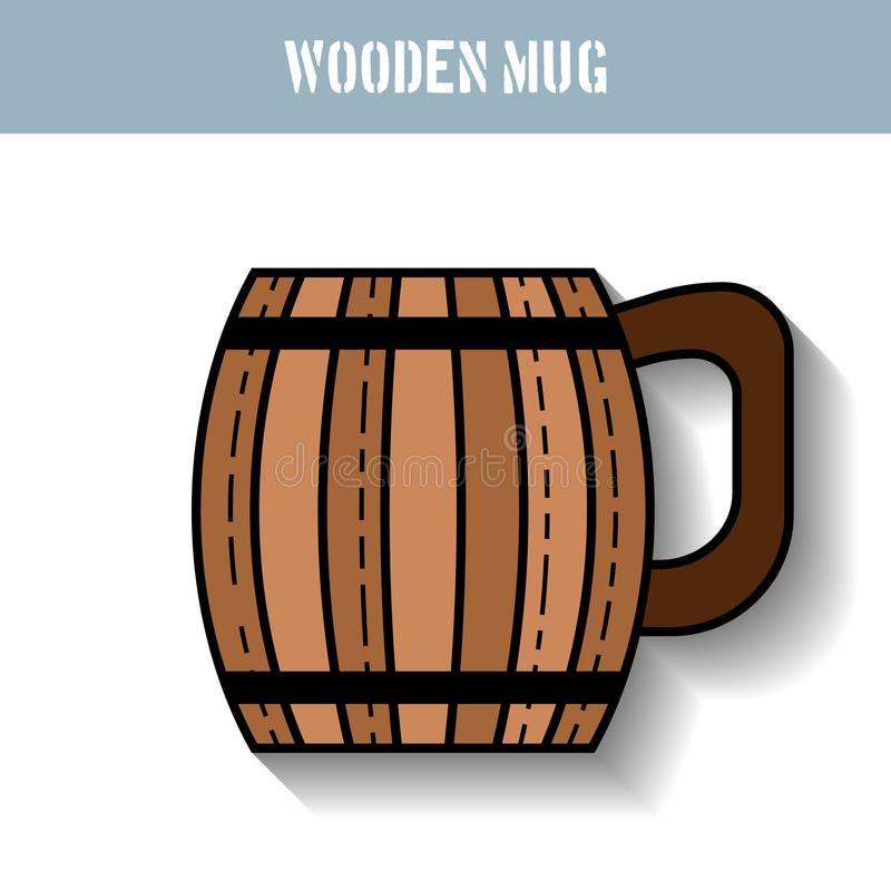 Houten mok voor bier, water en dranken Vlak pictogram voor plaats, zaken Vector illustratie royalty-vrije illustratie