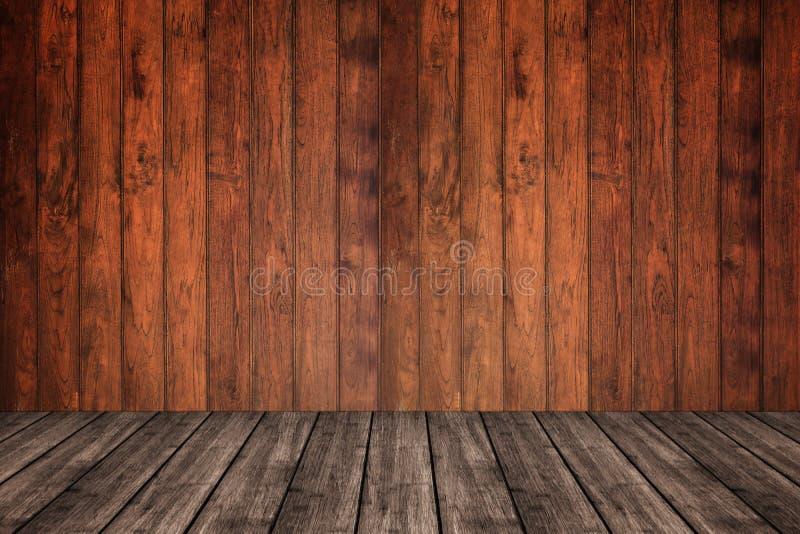 Houten muur en vloer in perspectiefmening, grunge achtergrond FO royalty-vrije stock afbeeldingen
