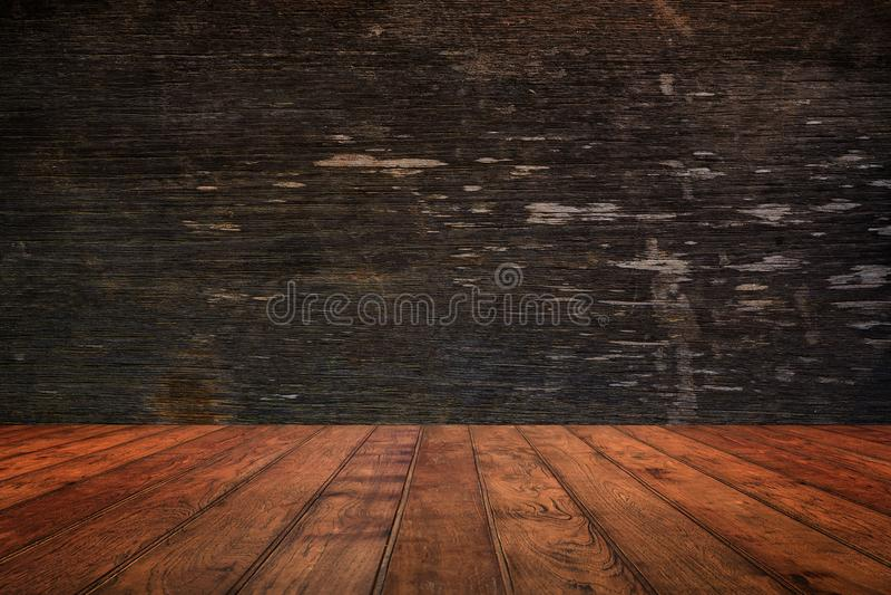 Houten muur en vloer in perspectiefmening, grunge achtergrond FO royalty-vrije stock afbeelding