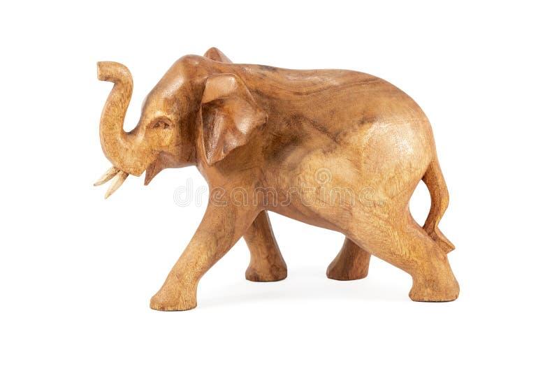 Houten olifantsbeeldje op wit royalty-vrije stock foto