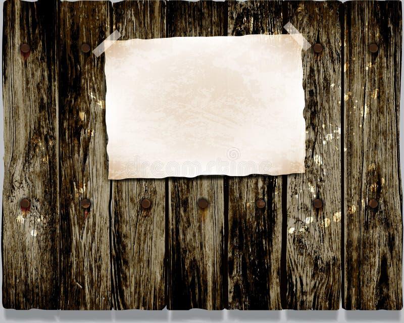 Houten omheining, borstel, slagen en verfbanners Vector illustratie royalty-vrije illustratie