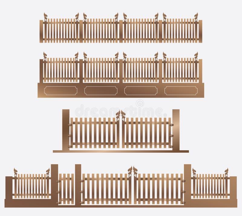 Houten Omheining en deur van huis vector illustratie