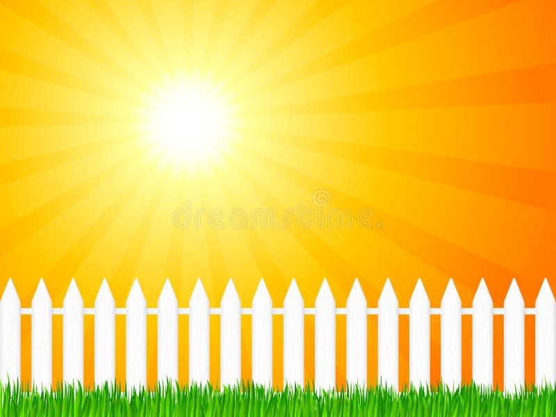 Houten omheining en gras 4 vector illustratie