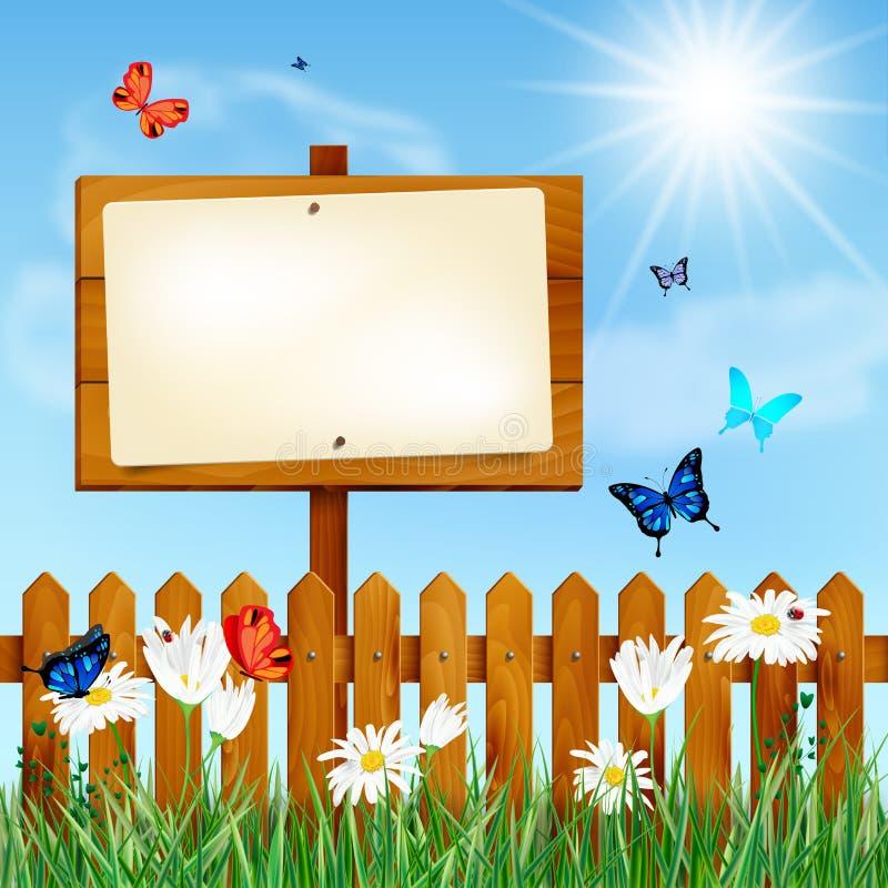 Houten omheining en leeg teken op de zomerweide stock illustratie