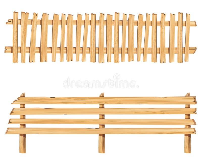 Houten omheining en houten tekenraad met mooie verschillende vormen stock illustratie