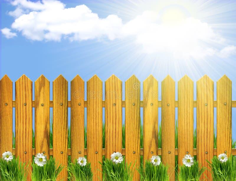 Houten omheining en witte bloemen. vector illustratie