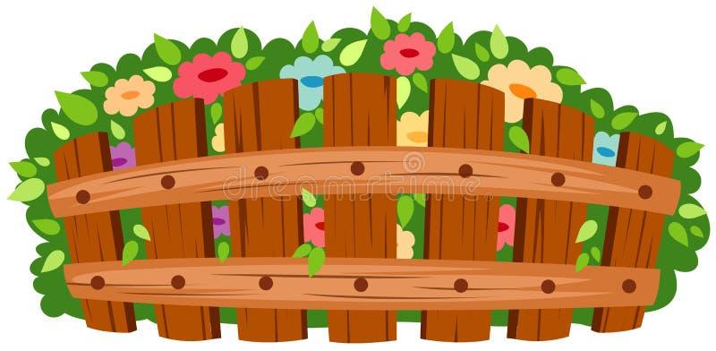 Houten omheining met bloemen stock illustratie