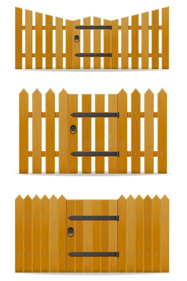 Houten omheining met de vectorillustratie van de wicketdeur stock illustratie