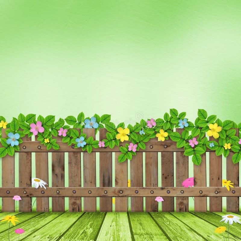 Houten omheining met een bloemslinger royalty-vrije illustratie