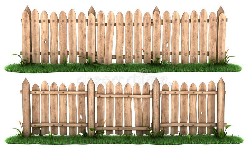 Houten omheining met gras stock illustratie