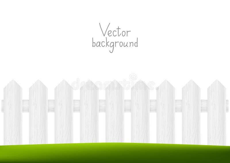 Houten omheining met groen gras vector illustratie