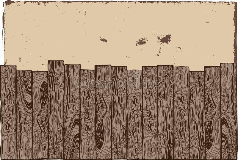 Houten omheining met grungeachtergrond. royalty-vrije illustratie