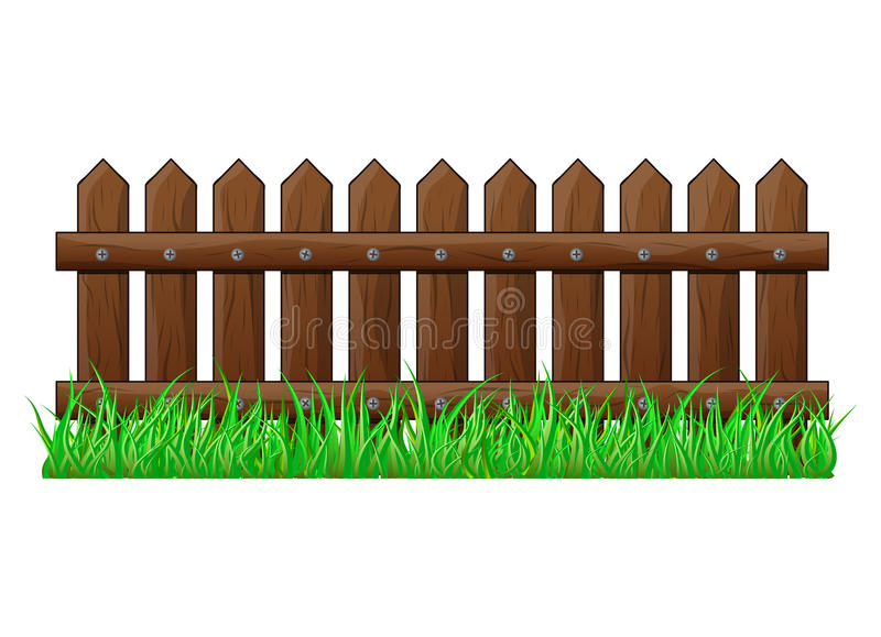 Houten Omheining met het gras geïsoleerde vectorontwerp van het symboolpictogram vector illustratie