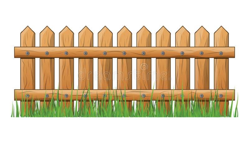 Houten Omheining met het gras geïsoleerde vectorontwerp van het symboolpictogram royalty-vrije illustratie