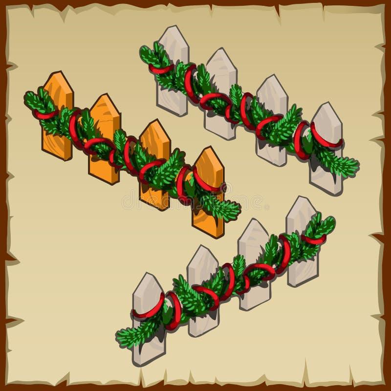 Houten omheining met Kerstmisdecoratie stock illustratie