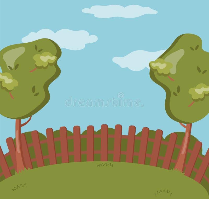 Houten omheining op de binnenplaats, groene tuin met gras en bomen, van het de zomerlandschap vectorillustratie als achtergrond royalty-vrije illustratie