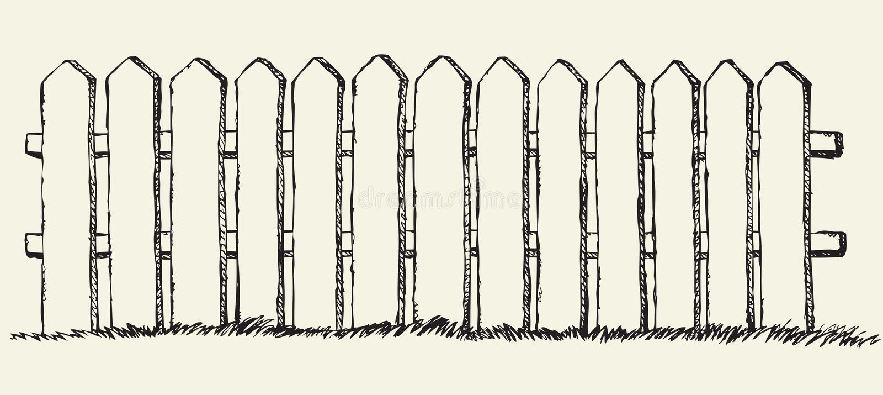 Houten omheining Vector tekening stock illustratie