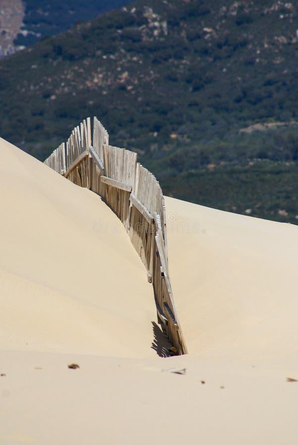 Houten omheiningen op verlaten strandduinen in Tarifa, Spanje royalty-vrije stock fotografie