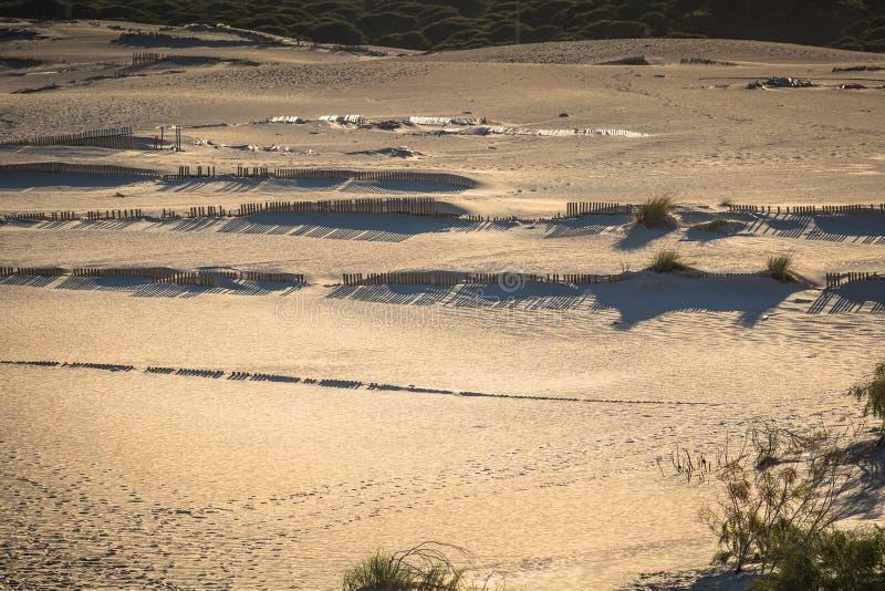 Houten omheiningen op verlaten strandduinen in Tarifa, Spanje royalty-vrije stock foto
