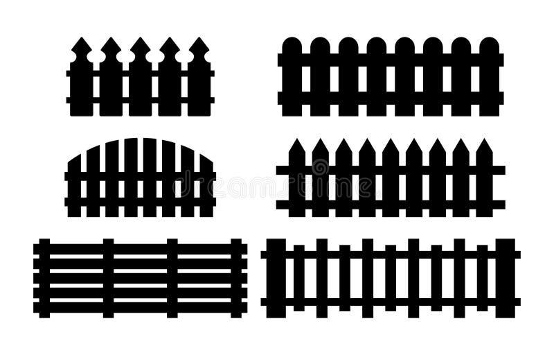 Houten omheiningsreeks Eenvoudig die silhouetontwerp op wit wordt geïsoleerd vector illustratie
