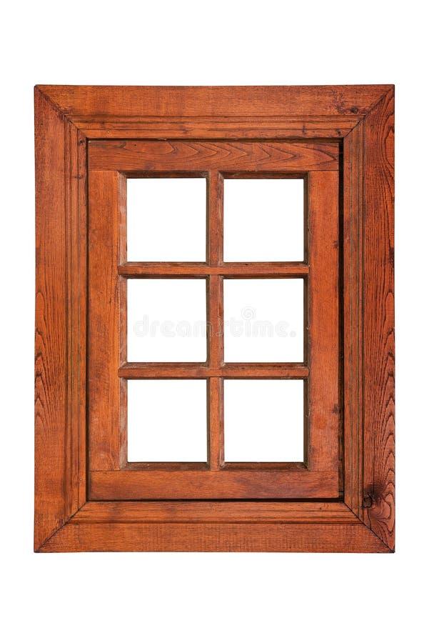 Houten openslaand raam met zes ruiten royalty-vrije stock afbeelding
