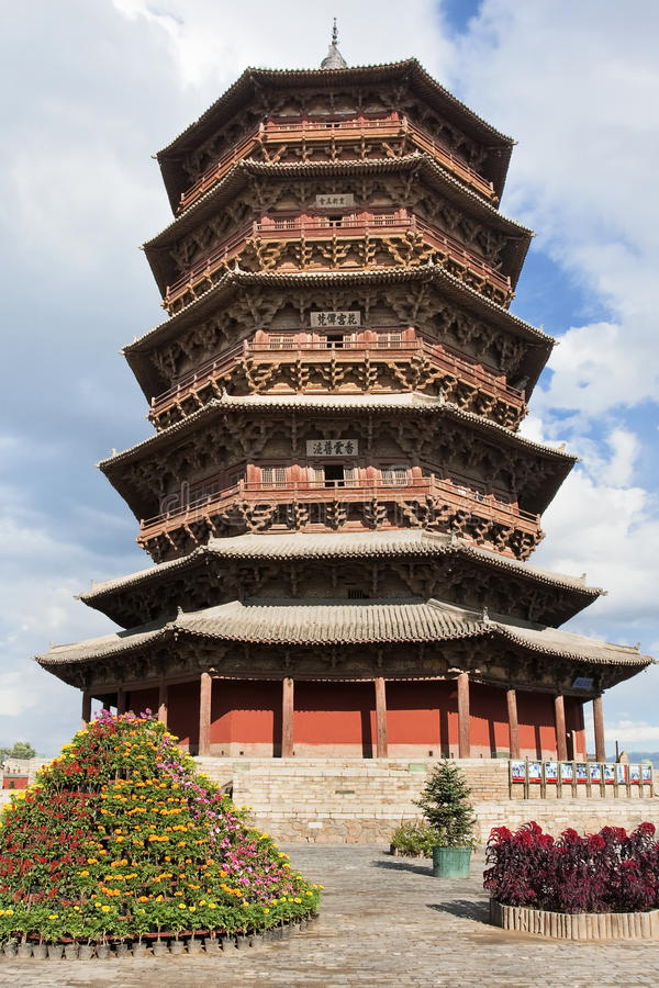 Houten pagodepagode van Fogong-Tempel, Yingxian, oudste bestaande houten pagode in China royalty-vrije stock foto