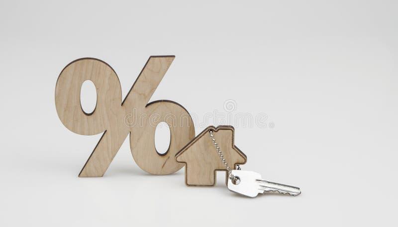 houten percententeken en huisvorm op witte achtergrond Het concept prijs verandert op de onroerende goederenmarkt stock afbeeldingen