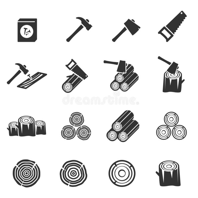 Houten pictogram vectorsymbool stock fotografie
