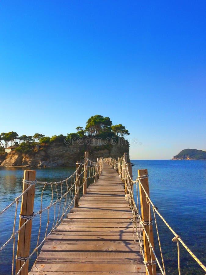 Houten pijler aan Cameo Island, Zakynthos, Griekenland royalty-vrije stock afbeelding