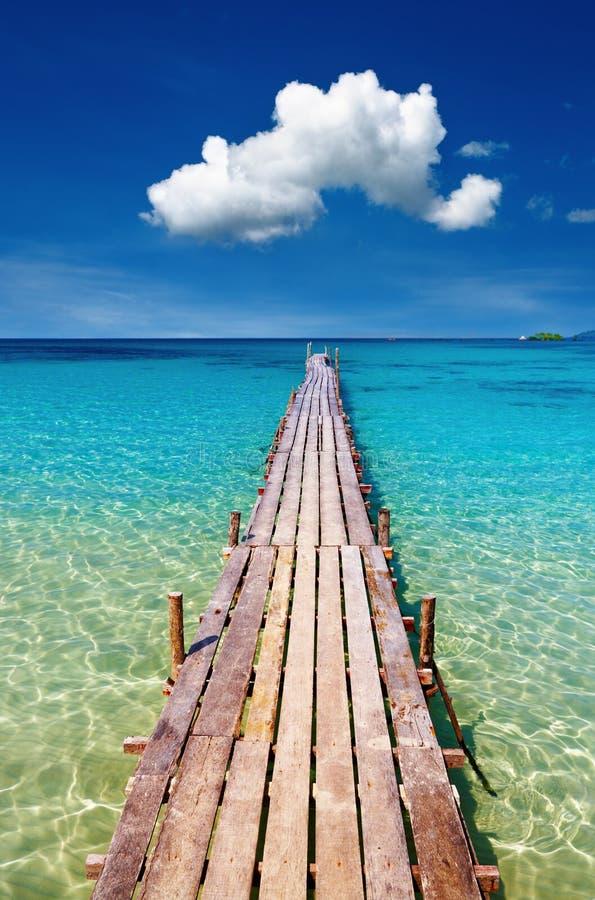 Houten pijler, Kood eiland, Thailand royalty-vrije stock afbeeldingen