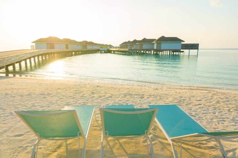Houten pijler, pier en ligstoelen bij tropische eilandtoevlucht binnen royalty-vrije stock foto's
