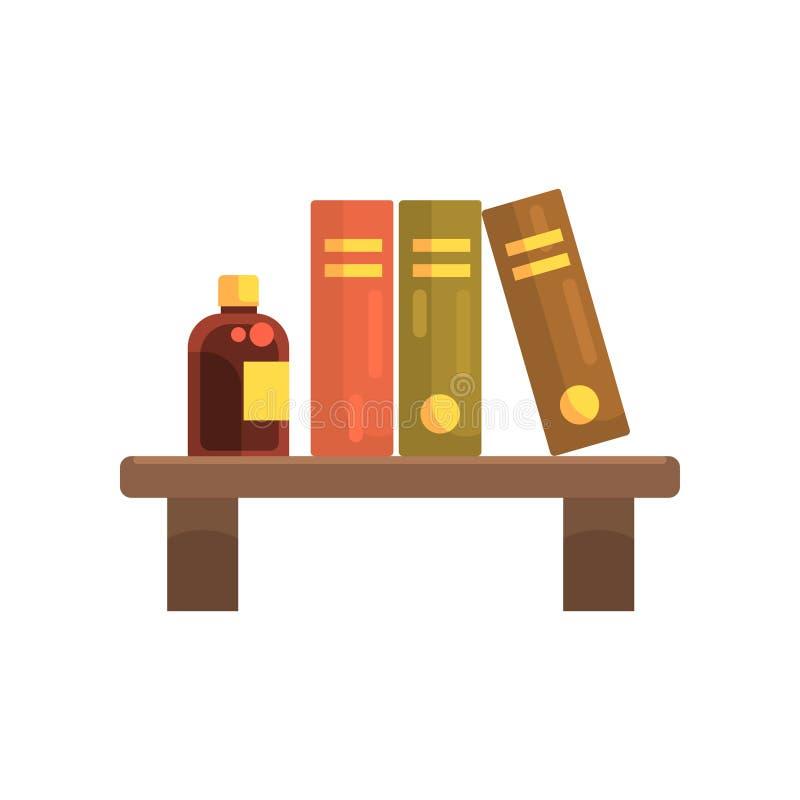Houten plank in laboratorium met de boeken van de wetenschapsliteratuur en glasfles met vloeistof Pictogram van het beeldverhaal  royalty-vrije illustratie