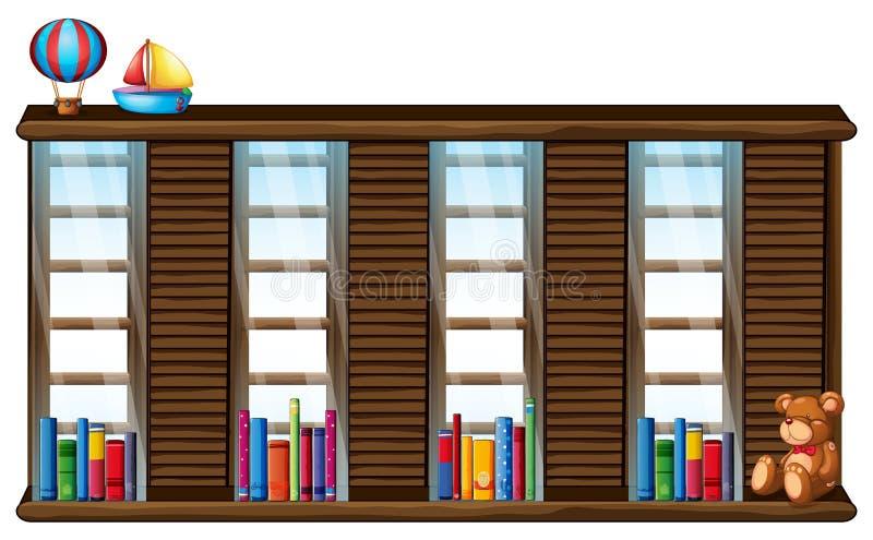 Houten plank met boeken en speelgoed royalty-vrije illustratie