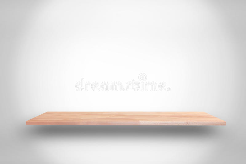 Houten plank op witte grijze gradiëntachtergrond - kan gebruikte FO zijn stock afbeelding
