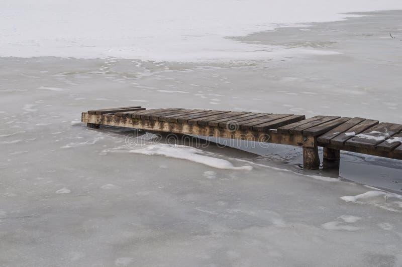 Houten planken op een bevroren vijver royalty-vrije stock afbeelding