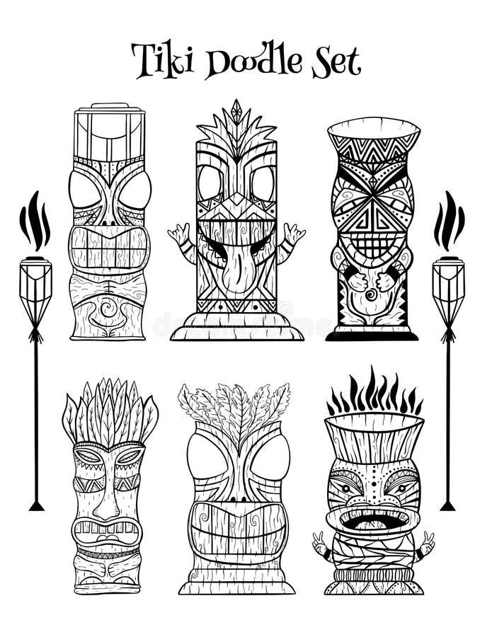 Houten Polynesische Tiki-idolen, de gravure van het godenstandbeeld, toorts royalty-vrije illustratie