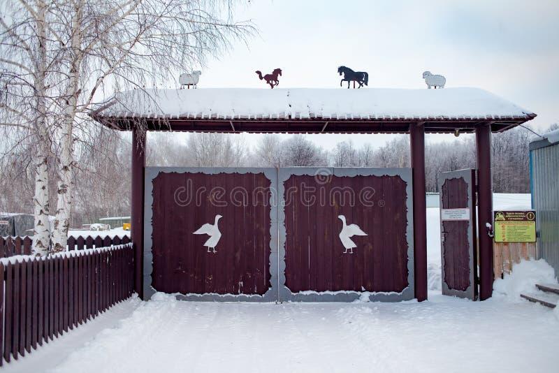 Houten poort in traditionele Russische stijl en sneeuw rond in de winterdag Gesneden cijfers van houten dieren en vogels op de po royalty-vrije stock fotografie