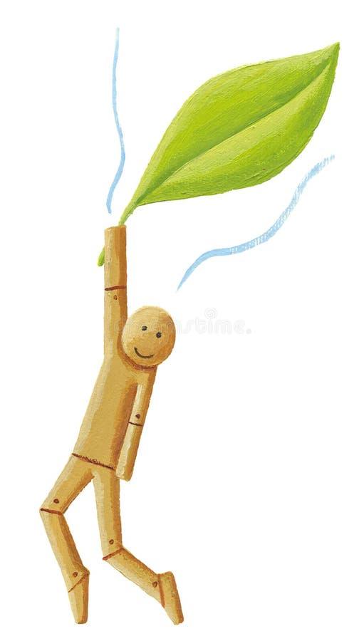 Houten pop die een blad houden vector illustratie