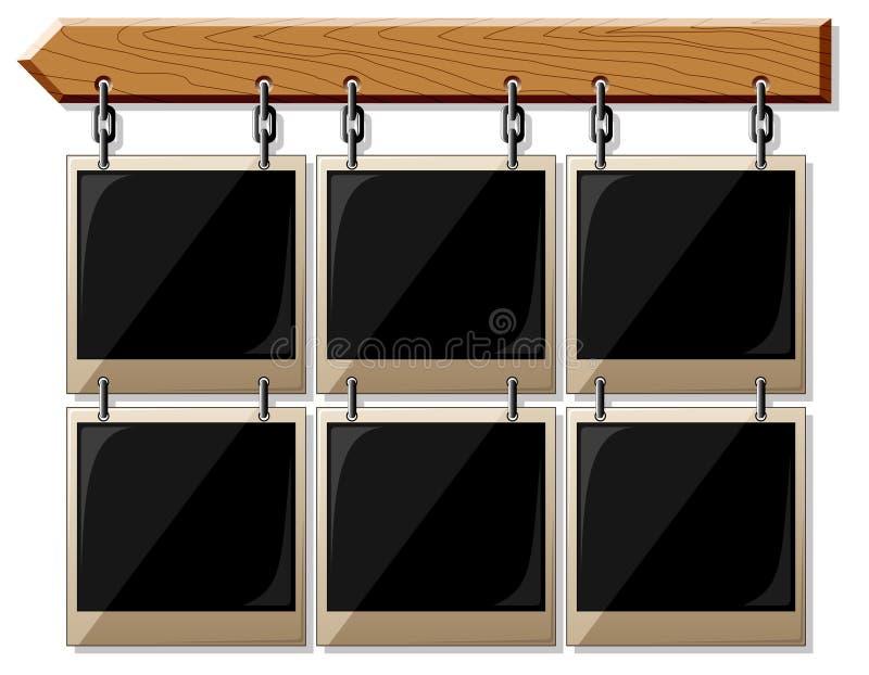 Houten raad met glanzende frames vector illustratie