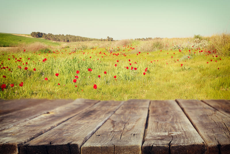 Houten raadslijst voor de zomerlandschap van gebied met vele bloemen De achtergrond is vaag stock afbeeldingen