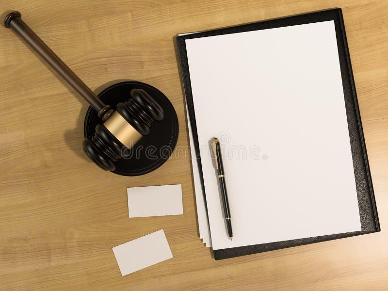 Houten rechtershamer en adreskaartjes op de houten achtergrond vector illustratie