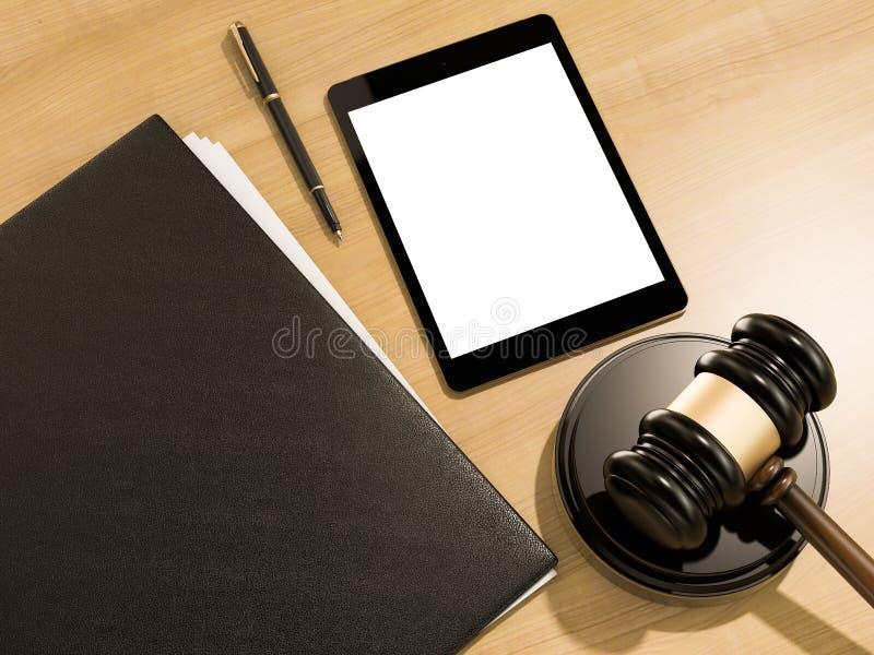 Houten rechtershamer en tabletcomputer op de houten achtergrond stock illustratie