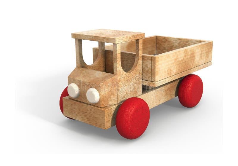 Houten retro stuk speelgoed auto 3d model stock illustratie