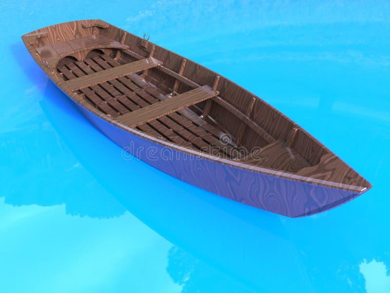 Houten rijboot royalty-vrije illustratie