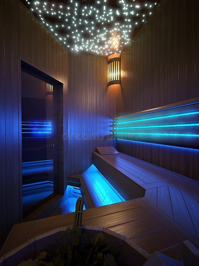 Houten sauna met traditionele saunatoebehoren royalty-vrije stock afbeeldingen