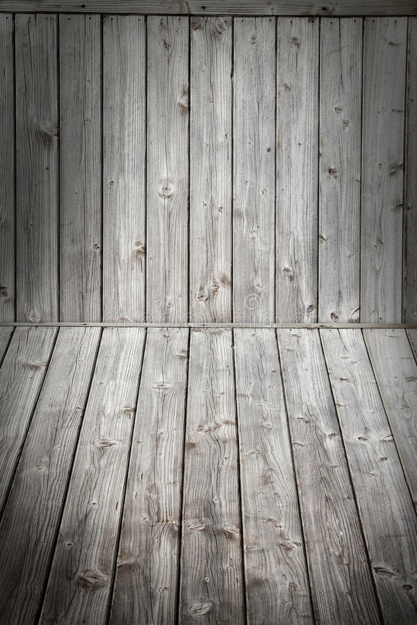 Houten scèneachtergrond en vloer Vakje houten grijs raadsvignet stock foto's