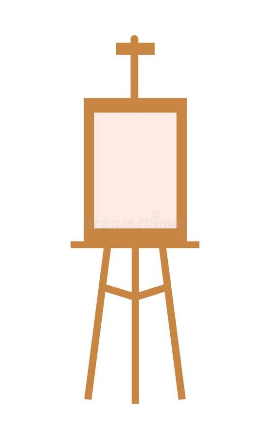 Houten schildersezel met leeg canvas dat op wit wordt geïsoleerdw stock illustratie