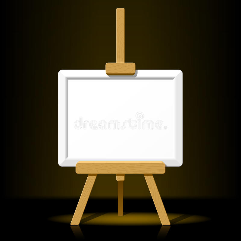Houten schildersezel met leeg canvas op een donkere rug vector illustratie