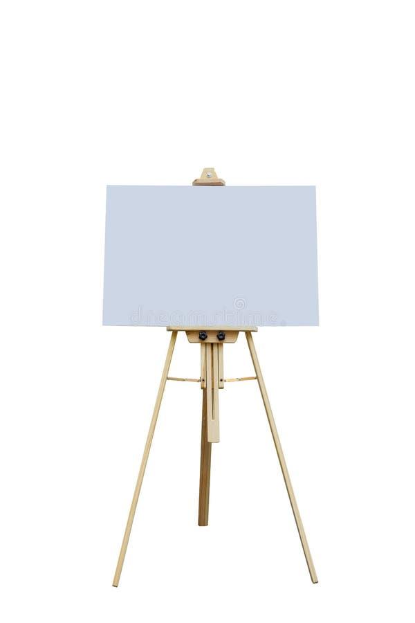 Houten schildersezel met lege plastic raad stock afbeeldingen